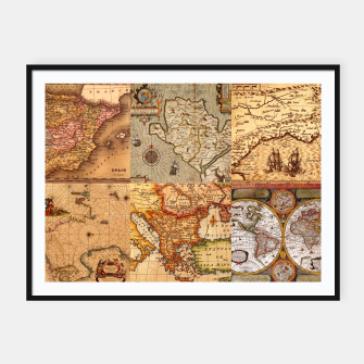 Thumbnail image of Old maps Framed poster, Live Heroes