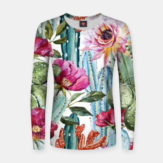 Thumbnail image of Watercolor Cactus Women sweater, Live Heroes