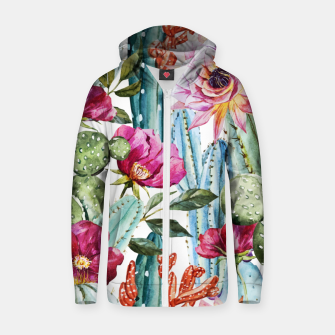 Thumbnail image of Watercolor Cactus Zip up hoodie, Live Heroes