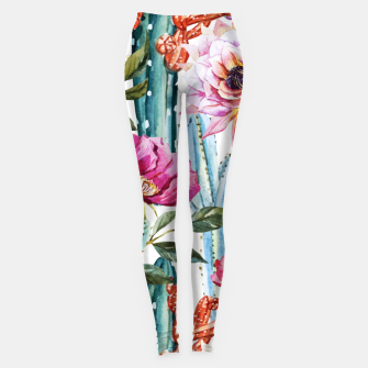 Thumbnail image of Watercolor Cactus Leggings, Live Heroes