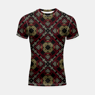 Thumbnail image of Pattern gold patch Shortsleeve rashguard, Live Heroes