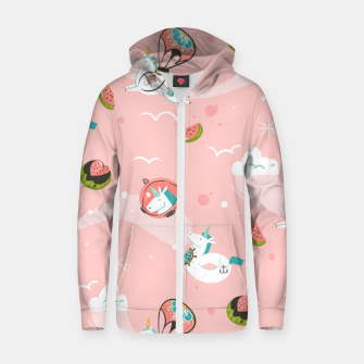 Thumbnail image of Hand drawn abstract Unicorns Zip up hoodie, Live Heroes