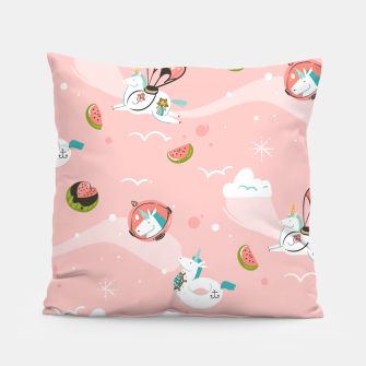 Thumbnail image of Hand drawn abstract Unicorns Pillow, Live Heroes