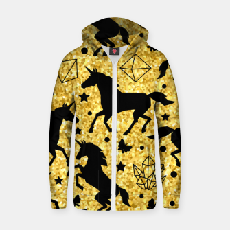 Thumbnail image of Gold Unicorns Zip up hoodie, Live Heroes