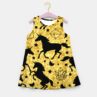 Thumbnail image of Gold Unicorns Girl's summer dress, Live Heroes