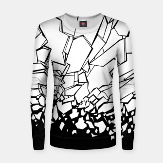 Thumbnail image of Broken II Abstract black and white shattered glass cracks pattern. Women sweater, Live Heroes