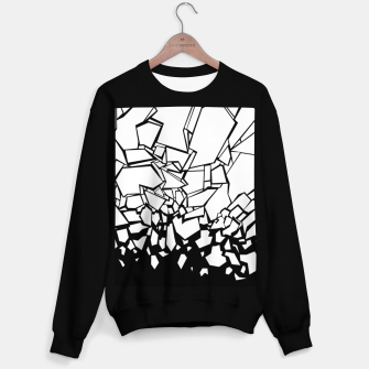 Thumbnail image of Broken II Abstract black and white shattered glass cracks pattern. Sweater regular, Live Heroes