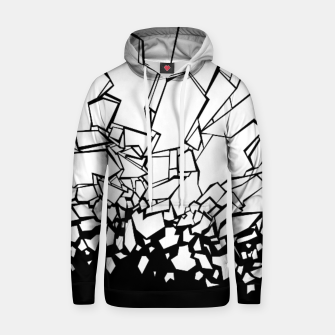Thumbnail image of Broken II Abstract black and white shattered glass cracks pattern. Hoodie, Live Heroes