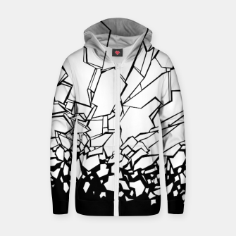 Thumbnail image of Broken II Abstract black and white shattered glass cracks pattern. Zip up hoodie, Live Heroes