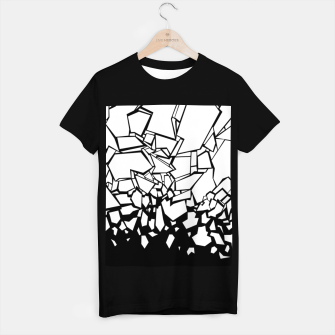 Thumbnail image of Broken II Abstract black and white shattered glass cracks pattern. T-shirt regular, Live Heroes