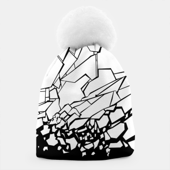 Thumbnail image of Broken II Abstract black and white shattered glass cracks pattern. Beanie, Live Heroes