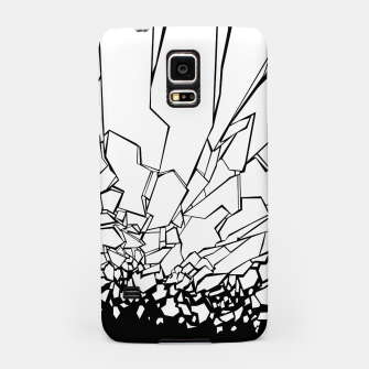 Miniatur Broken II Abstract black and white shattered glass cracks pattern. Samsung Case, Live Heroes