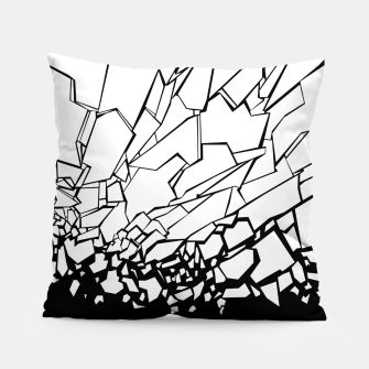 Miniatur Broken II Abstract black and white shattered glass cracks pattern. Pillow, Live Heroes