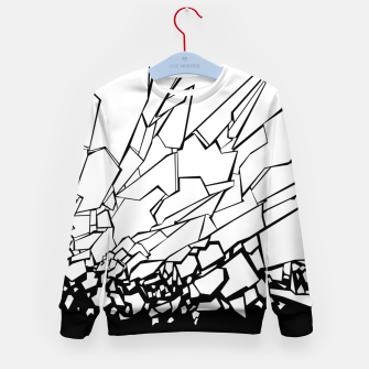 Miniatur Broken II Abstract black and white shattered glass cracks pattern. Kid's sweater, Live Heroes