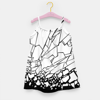 Miniatur Broken II Abstract black and white shattered glass cracks pattern. Girl's dress, Live Heroes