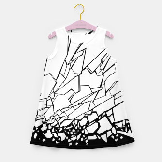 Thumbnail image of Broken II Abstract black and white shattered glass cracks pattern. Girl's summer dress, Live Heroes