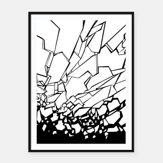 Thumbnail image of Broken II Abstract black and white shattered glass cracks pattern. Framed poster, Live Heroes