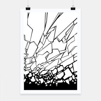 Thumbnail image of Broken II Abstract black and white shattered glass cracks pattern. Poster, Live Heroes