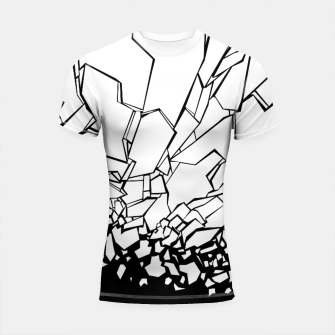Miniatur Broken II Abstract black and white shattered glass cracks pattern. Shortsleeve rashguard, Live Heroes