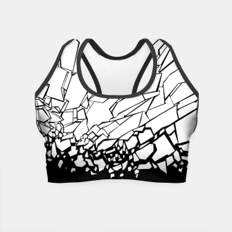 Miniatur Broken II Abstract black and white shattered glass cracks pattern. Crop Top, Live Heroes