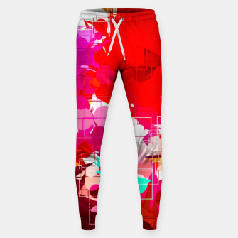 Thumbnail image of geometric circle pattern abstract in red orange pink blue Sweatpants, Live Heroes