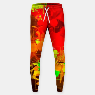 Thumbnail image of geometric circle and square pattern abstract in red orange yellow green Sweatpants, Live Heroes