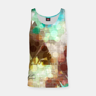 Thumbnail image of geometric circle and triangle pattern abstract in blue and brown Tank Top, Live Heroes