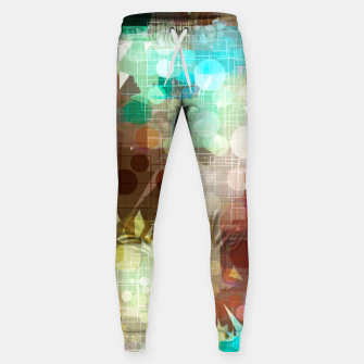 Thumbnail image of geometric circle and triangle pattern abstract in blue and brown Sweatpants, Live Heroes