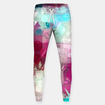 Thumbnail image of geometric circle and triangle pattern abstract in pink blue Sweatpants, Live Heroes
