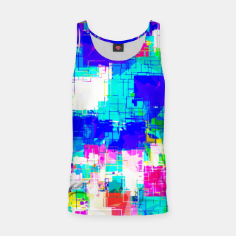 Thumbnail image of geometric square pattern abstract in blue pink yellow Tank Top, Live Heroes