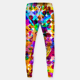 Thumbnail image of geometric circle and triangle pattern abstract in orange blue pink purple Sweatpants, Live Heroes