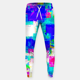 Thumbnail image of geometric square pattern abstract in blue pink yellow Sweatpants, Live Heroes