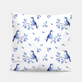 Thumbnail image of Blue Singing Birds Pillow, Live Heroes