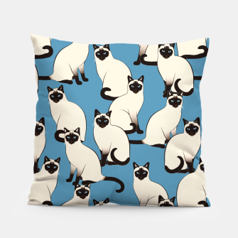 Thumbnail image of Siamese cats blue pattern Pillow, Live Heroes
