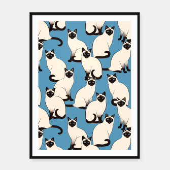 Thumbnail image of Siamese cats blue pattern Framed poster, Live Heroes