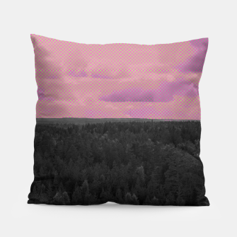 Thumbnail image of Forest and pink sky Pillow, Live Heroes