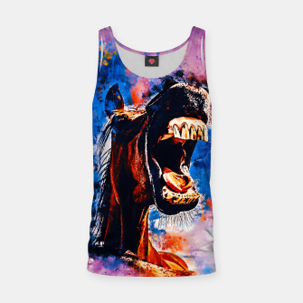 Thumbnail image of horse hilarious big mouth watercolor splatters blue purple Tank Top, Live Heroes