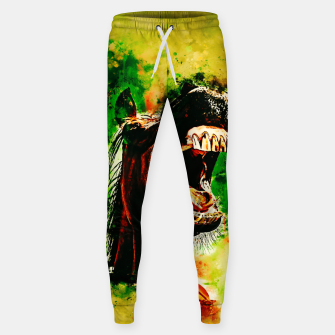 Thumbnail image of horse hilarious big mouth watercolor splatters yellow green Sweatpants, Live Heroes