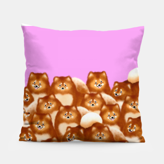 Thumbnail image of Pomeranians (Lilac Background) Pillow, Live Heroes