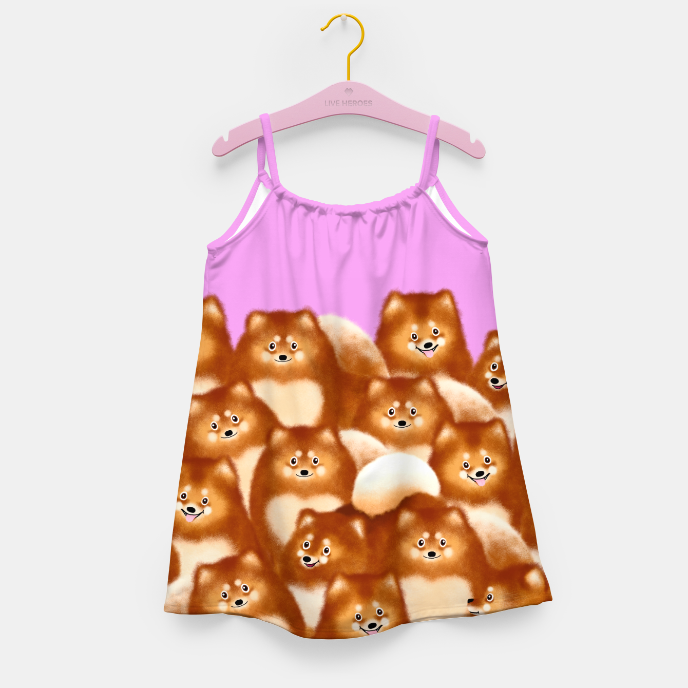 Image of Pomeranians (Lilac Background) Girl's dress - Live Heroes