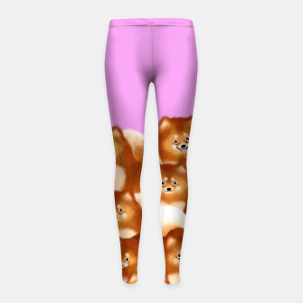 Thumbnail image of Pomeranians (Lilac Background) Girl's leggings, Live Heroes