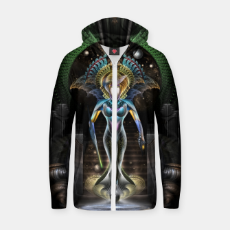 Thumbnail image of The Majesty Of Trilia Fractal Fantasy Portrait Zip up hoodie, Live Heroes