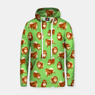 Thumbnail image of Pomeranian Pattern (Green Background) Hoodie, Live Heroes