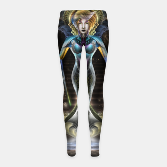 Thumbnail image of The Majesty Of Trilia Fractal Fantasy Portrait Girl's leggings, Live Heroes