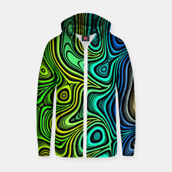 Thumbnail image of Abstract Color Wave Greens Zip up hoodie, Live Heroes