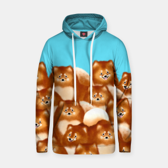 Thumbnail image of Pomeranians (Blue Background) Hoodie, Live Heroes