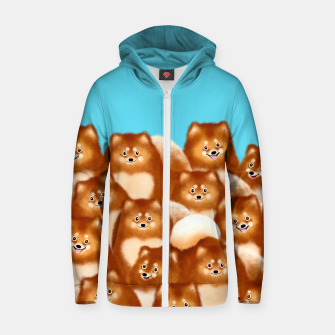 Pomeranians (Blue Background) Zip up hoodie thumbnail image