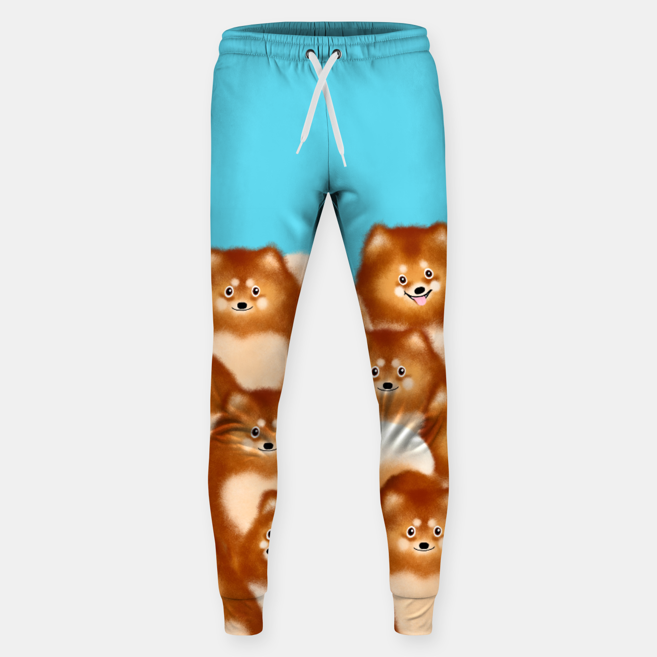 Image of Pomeranians (Blue Background) Sweatpants - Live Heroes