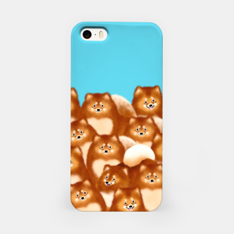 Pomeranians (Blue Background) iPhone Case thumbnail image