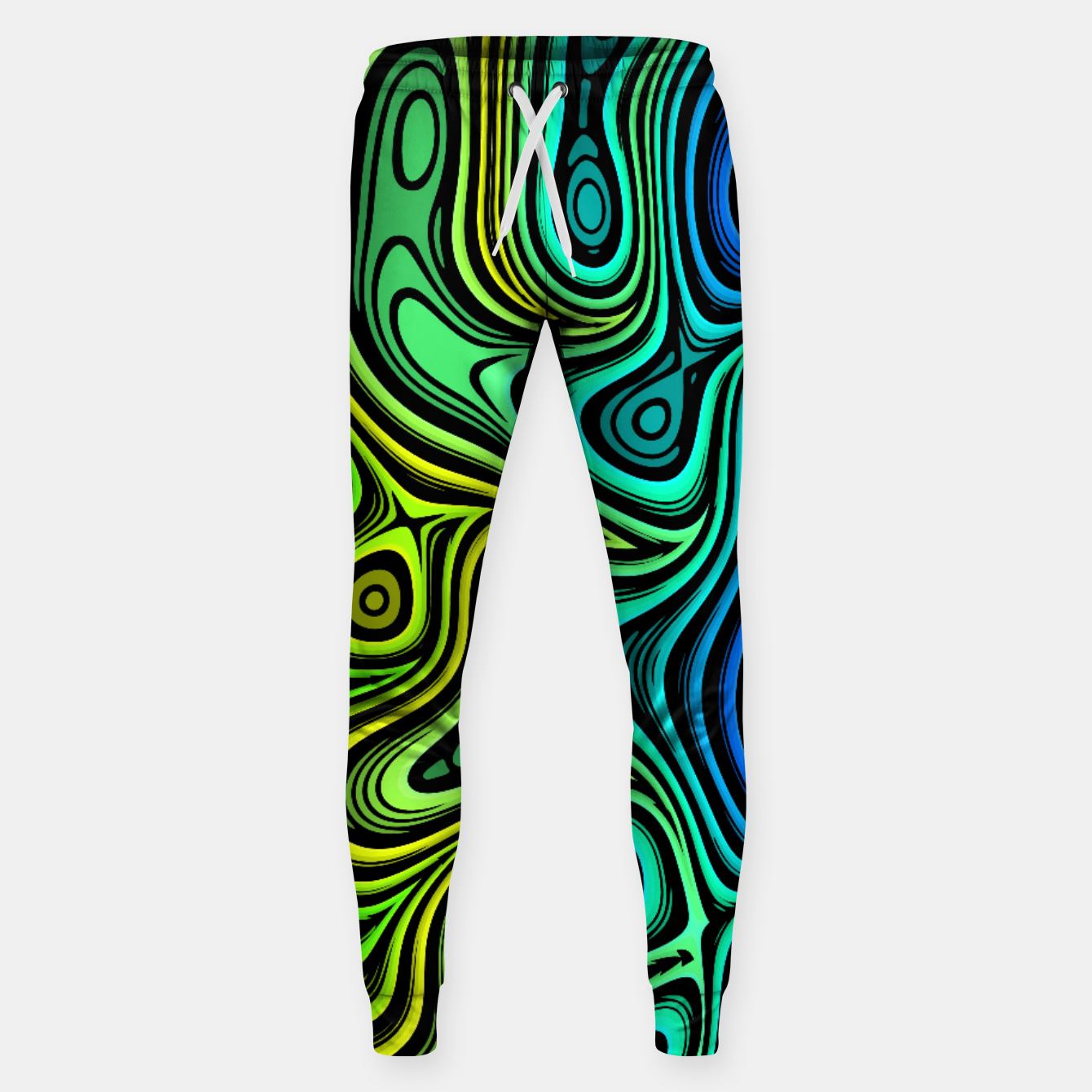 Image of Abstract Color Wave Greens Sweatpants - Live Heroes
